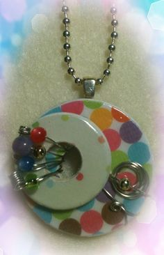 Wire Wrapped  Washer Pendant NecklacePolka Dots by HomespunSpirit