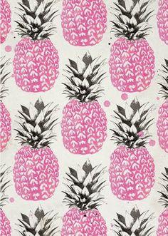 extend pink raspberry lino print using biro- pineapple artwork