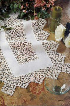 Prelude 42 x 42 White Lace Table Topper Crochet Boarders, Crochet Motifs, Filet Crochet, Crochet Table Runner, Crochet Tablecloth, Crochet Home, Love Crochet, Free Cliparts, Poncho Style