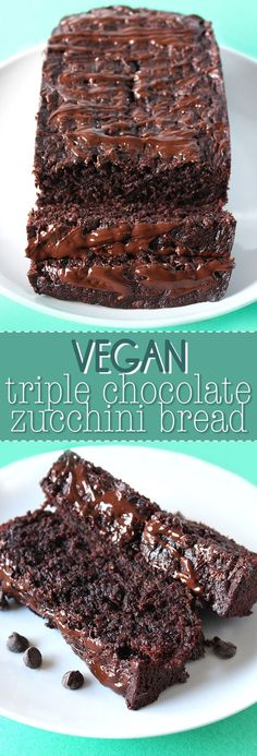 This is the chocolate lovers ultimate dream! This VEGAN triple chocolate zucchini bread is ultra decadent, supremely moist, and extremely easy to make!