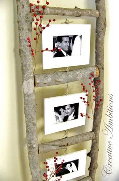 DIY Photo Ladder - made from tree branches Cadre Photo Diy, Diy Photo, Wood Photo, Diy Projects To Try, Craft Projects, Garden Projects, Garden Ideas, Craft Ideas, Easy Garden
