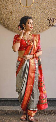 Indian Wedding Gowns, Indian Bridal Sarees, Indian Bridal Outfits, Indian Bridal Fashion, Indian Bridal Wear, Indian Designer Outfits, Indian Beauty Saree, Marathi Wedding, Saree Poses