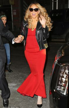 All jazzed up! Mariah Carey was certainly in a jolly mood as she arrived to the second night of her Christmas show in New York City on Wednesday