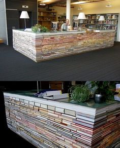 I would love to do this if I had a really even floor and could get the books to stay put right...looks so cool