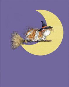Guinea Pig Art for Halloween - Witchy Peeg's Midnight Ride Guinea Pig Art Print
