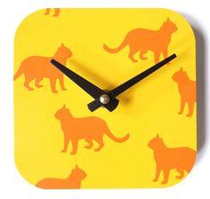 Orange and Yellow Cat Clock by eightyacresart