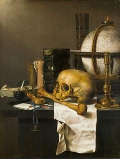 Vanitas, c.1655, Joost Ferdenandes; symbols of death and time's passing include a skull and thigh bone, an empty candlestick and a watch. (Kröller Müller Museum)