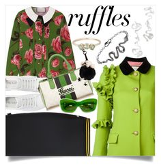 """""""Frilly apple green coat"""" by ladygroovenyc ❤ liked on Polyvore featuring Puma, Prada, Gucci, Karine Sultan and Morgan Lane"""