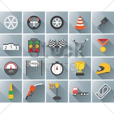 set of motor racing icons Stock Vector