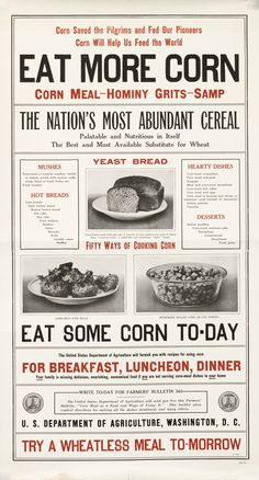 Eat More Corn - The Nation's Most Abundant Cereal by Artist Unknown | Shop original vintage #posters online: www.internationalposter.com