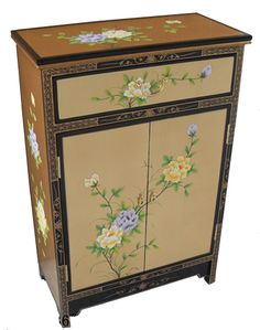 Chinese black lacquer furniture and cabinets with intricate gold leaf designs depicting Chinese cranes in beautiful sunset scenery - Buy online from UK stock Furniture Direct, Umbrella Holder, Oriental Furniture, Decorative Boxes, Gold Leaf Furniture, Furniture, Chinese Furniture, Dressing Table Set, Sideboard Gold