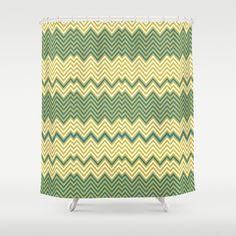 chevron.. mustard and teal Shower Curtain by studiomarshallarts - $68.00