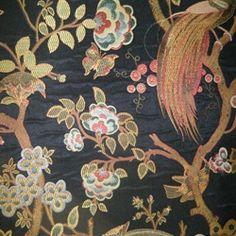 Floral Fabric - Decorating Fabrics -Phoenix Onyx Bird Upholstery Fabric