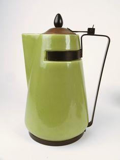 Danish Modern Ceramic Copper Flip Top Iron Handle Coffee Teapot