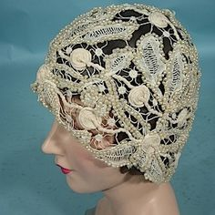 c. early 1920's Original Openwork Lace and Faux Pearl Cloche!