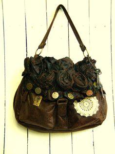 Large One of a Kind Bohemian Bag Purse Romantic Gypsy Upcycled Handbag Embellished. $88.00, via Etsy.