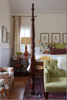 Lovely four poster bed.Bed designs, headboards, footstools, armchairs, window treatments, ceilings, pendant light fixtures, flooring, rugs, nightstands and decorating. modern. color. texture. walls.