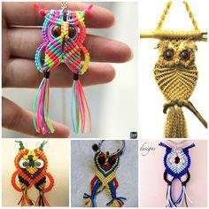 How to DIY Rainbow Macrame Owls - 6 Tutorials Macrame Owl, Macrame Knots, Macrame Jewelry, Diy Owl Decorations, Diy Table Legs, Owl Dream Catcher, Dragonfly Wall Art, Troll Dolls, Diy Keychain