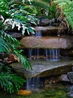 See more beautiful waterfall pictures here.landscape-des… small garden fountains water features Gone a. Waterfall Design, Garden Waterfall, Backyard Garden Design, Ponds Backyard, Backyard Waterfalls, Big Backyard, Garden Ponds, Modern Backyard, Outdoor Water Features