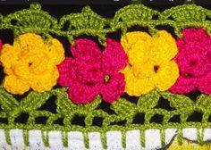 Crochê Gráfico: Barrado de crochê com flores