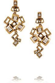 Oscar de la RentaSquare gold-plated crystal clip earrings