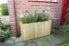 Attractive and fashionable planter made using rough sawn boards arranged to create a castellated feature around the top.