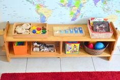 Toddler Shelves at How we Montessori (for our toddler visitor who is 17 months old)