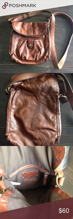 Used Lucky Brand crossbody Used Lucky Brand crossbody. Italian leather, flap opens and another open compartment with zipper pocket inside. 8w X 10h X 2d cognac Lucky Brand Bags Crossbody Bags