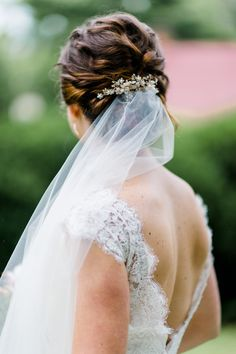 Bride and groom's portraits. Northern VA wedding at Welbourne Bed & Breakfast. Wedding hair with veil. Updo.