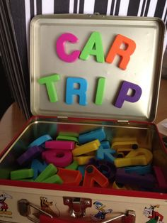 Car Trip Busy Box | PlayDrMom magnetic letters in a metal lunch box