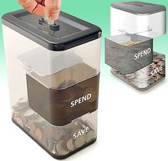 "Spend/Save Coin Bank.  The unpredictable pivoting tray collects, deflects, and randomly deposits coins in either the ""save"" or ""spend"" section. It's a win, win!"