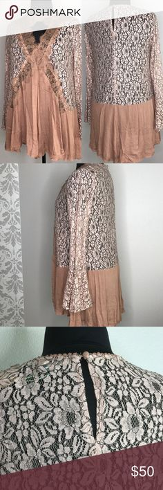 """""""It's All In The Lace"""" Plus Size Tunic Romantic lace tunic in gorgeous dusty rose; perfect for fall. You'll likely want to wear something underneath. Recommend sizing down. Delicate lace with bell sleeves split at cuff for a flowing dreamy look. Grab this now for the holiday parties! Bust measurements - XL = 45""""; 1X = 47""""; 2X = 51"""" mockingbird + poppy Tops Blouses"""