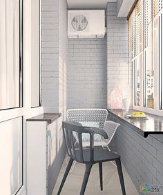 Интересным решением для балкона стала облицовка кирпичом. Такая кладка создает ощущение уютного лофта. В силу того, что балкон в данной квартире очень маленький и узкий, дизайнером было принято решение не утеплять его, а сделать из него летнюю зону для отдыха.