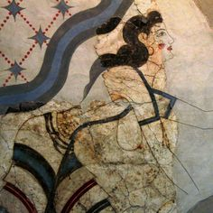 Minoan wall fresco of a lady offering a necklace to a goddess.1650 BC.Akrotiri,Thera island,Cyclades,Greece
