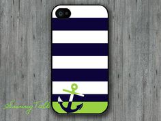 Iphone 4/4S Case - Anchor Personalized Navy Stripe on Iphone 4 case, Iphone 4S case, Plastic hard case, Waterproof iphone case. $6.99, via Etsy.