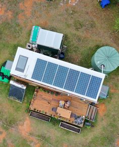 Our little tiny house from above complete with off-grid setup and deck. Off Grid Tiny House, Tiny House Living, Tiny House On Wheels, Cargo Container Homes, Container House Design, Airstream Living, Solar Water Pump, Homestead Farm, Building A Tiny House