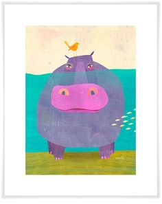 Underwater Hippo Art Print by twoems on Etsy
