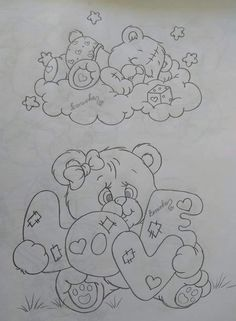 Printable Adult Coloring Pages, Cute Coloring Pages, Coloring Books, Art Drawings Sketches Simple, Pencil Art Drawings, Easy Drawings, Bear Drawing, Applique Patterns, Hand Embroidery Designs