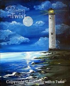Moonlit Lighthouse - Sarasota, FL Painting Class - Painting with a Twist