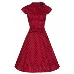 0743fa8503ac Šaty Lindy Bop červené s černým puntíkem krátký rukáv Klasická Móda