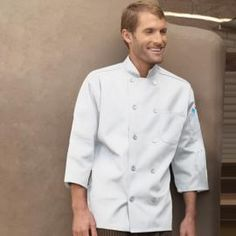 3/4 Sleeve Chef Coat by Uncommon Threads - Chefs love our 3/4 sleeve Chef Coat. Features mitered pockets, 10 buttons with reversible closure and finished collar. http://www.chefscloset.com/catalog/34-sleeve-chef-coat-p-23659.html