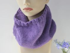 Hand Knit  Neck Warmer Purple Cowl Scarf Bamboo by beadedwire