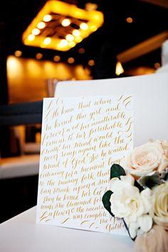 #GreatGatsby inspired #weddingdetails - #gold #yellow #script #letterpress