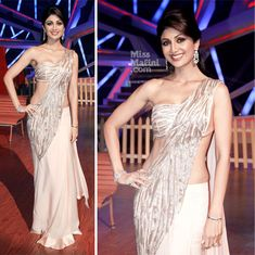 Shilpa Shetty celebrated Diwali on the sets of Nach Baliye 6 with co-judges Terence Lewis and Sajid Khan. Dress Indian Style, Indian Dresses, Indian Wear, Indian Outfits, Bollywood Actress Hot Photos, Bollywood Fashion, Shilpa Shetty, Madhuri Dixit, Sonakshi Sinha