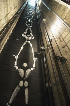 This artwork can be seen through the glassback elevators into the hoistway of the Hotel des Academies et Des Arts in Paris. Boutique Hotel Paris, Lift Design, Tattoo Photography, Graffiti Painting, Ceiling Detail, Street Graffiti, Creative Artwork, Art For Art Sake, Street Artists