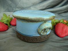 Ceramic Butter Crock, Sugar Jar or Jam Pot in Denim Blue and Black Mountain. Pottery by Sally Anne Stahl @ clayshapergallery.com
