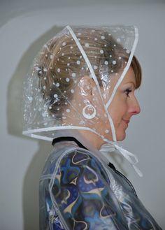 rainhood001 | by Headscarf Janet Clear Raincoat, Plastic Raincoat, Pvc Raincoat, Tapas, Rain Bonnet, Crochet Waffle Stitch, Saint Laurent, Rain Cape, Photo L