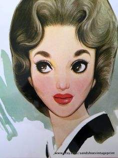 1960s JUNICHI NAKAHARA Big Eyed Girl Print Perfect for Framing by sandshoevintageprint on Etsy