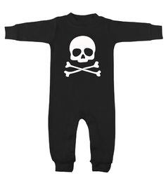 Skull & Crossbones Black & White Long Sleeve Romper - My Baby Rocks www.punkbabycloth... www.mybabyrocks.com #mybabyrocks #punkbabyclothes #baby
