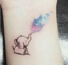 tattoo and cute image Baby Elephant Tattoo, Watercolor Elephant Tattoos, Colorful Elephant Tattoo, Elephant Tattoo Design, Friend Tattoos Small, Matching Best Friend Tattoos, Mom Tattoo Designs, Fairy Tattoo Designs, Dumbo Tattoo